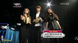 wonder girls shinee minho mc music bank (09.12.2011) - hong so hee, yubin (wonder girls), minho (shinee)